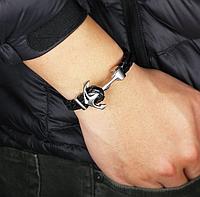 Плетенный мужской браслет с якорем