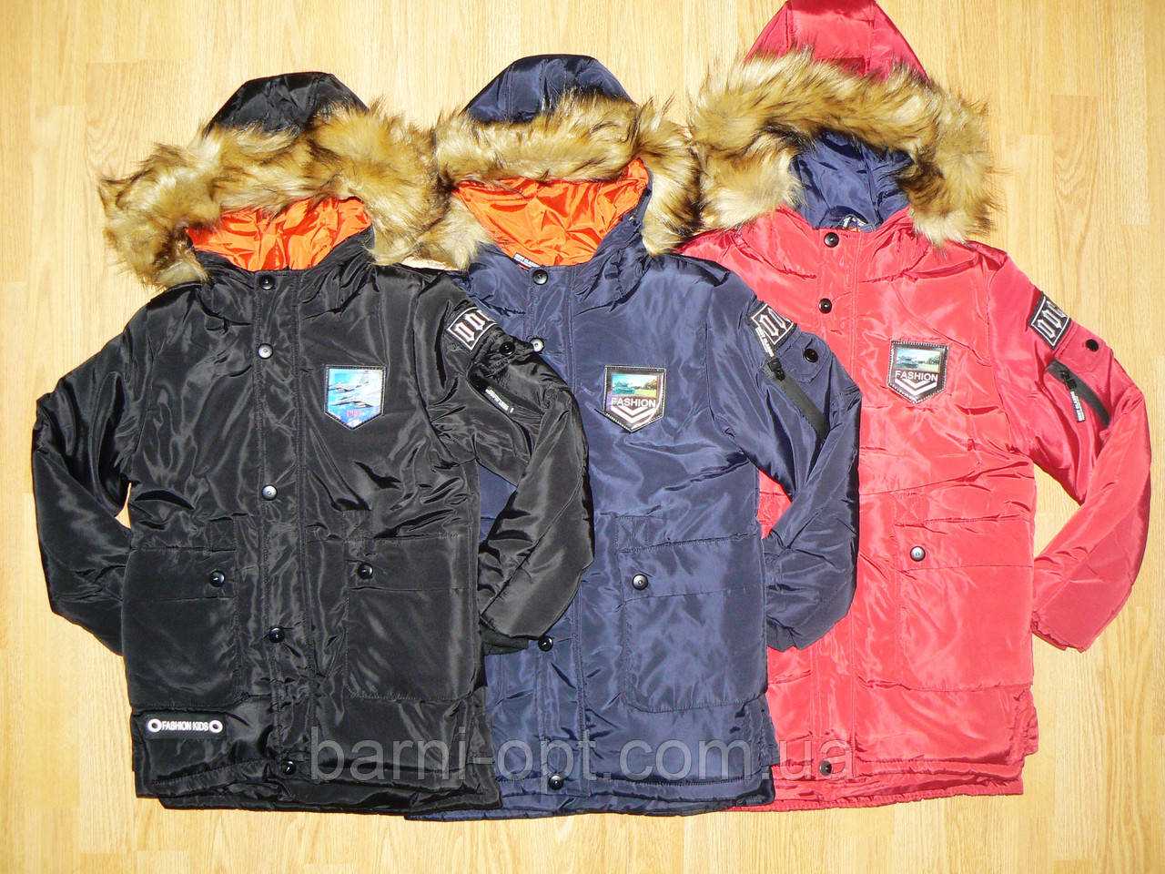 Куртки зимние на меху на мальчика оптом, Grace, 4-12 рр