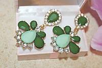 Серьги зеленый камень