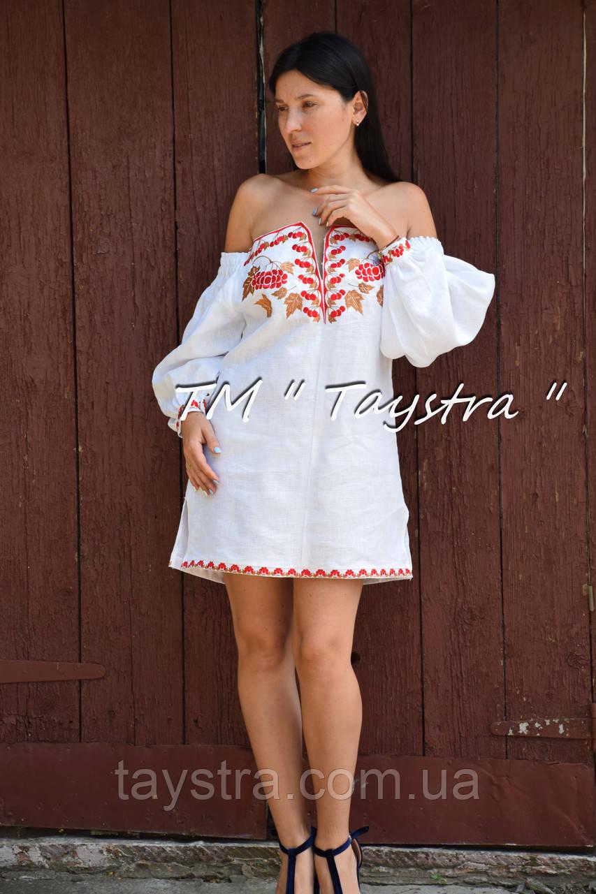 Короткое платье туника  вышитая лен, вышиванка,стиль бохо шик , Bohemian, этно,туника в Бохо-стиле