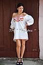 Короткое платье туника  вышитая лен, вышиванка,стиль бохо шик , Bohemian, этно,туника в Бохо-стиле, фото 2