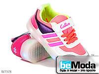 Привлекательные кроссовки детские светодиодные Cinar из текстиля розовые