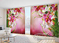 """Фото Шторы """"Пестрые орхидеи"""" 2,7м*3,5м (2 полотна по 1,75м), тесьма"""