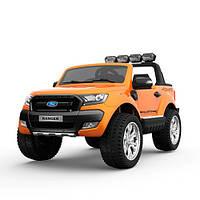 Двухместный детский полноприводный электромобиль джип Ford Ranger M 3573 EBLR-7 оранжевый, мягкие колеса кожан