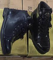 Демисезонные женские ботинки с лаковым носком  Размеры 36-41