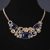 Колье на цепочке Квадраты с синими кристаллами L-48см Голд