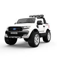 Двухместный детский полноприводный электромобиль джип Ford Ranger M 3573 EBLR-1 белый, мягкие колеса кожаное с
