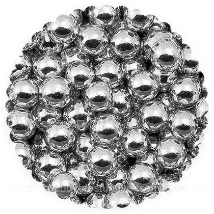 Сахарные бусинки - серебро 5 мм - сахарные шарики