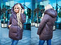 Женская теплая зимняя куртка темно-серого цвета