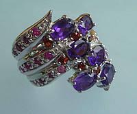 Кольцо с пурпурным аметистом рубином и гранатом Размер 17
