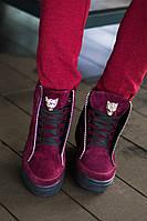 Суперстильные замшевые ботинки с натуральным  мехом внутри, р-р 35-41, 2 цвета