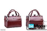Модная сумка женская Little Pegion coffee с металлическим декором коричневая