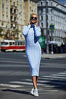 Вязаное теплое платье ниже колен из итальянской пряжи
