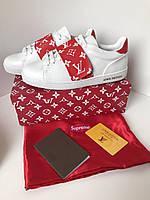 Крутые женские кеды Louis Vuitton FRONTROW красная канва