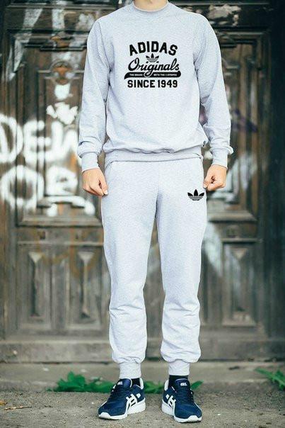 Серый мужской тренировочный костюм на лето Adidas Originals