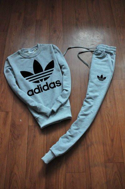 Серый мужской тренировочный костюм Adidas (Адидас)