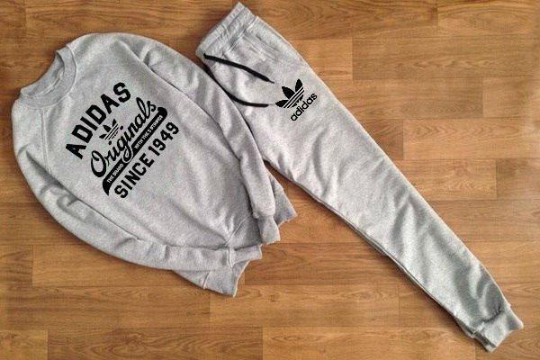 Серый мужской летний тренировочный костюм Adidas (Адидас)