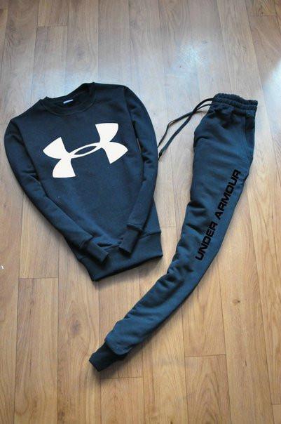 Черный мужской спортивный костюм реглан Under armour (Андер Армор)
