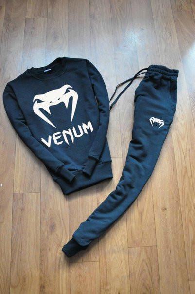 Черный мужской спортивный костюм реглан Venum (Венум)
