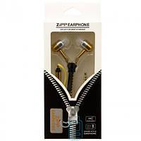 Наушники с микрофоном змейка Zipper New gold