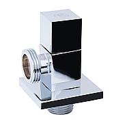 Кран угловой хромированный  с керам.буксой (квадрат) НН (SF341) ''SD FORTE''  для бытовых приборов  (5002A)