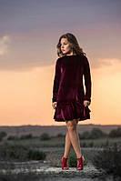 Женское короткое бархатное платье с длинными рукавами (бордовое) OMNIA