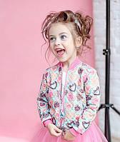 Модный бомбер для девочки Печеньки, розовый 7001-2 (р.98)