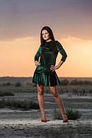 Женское короткое бархатное платье с длинными рукавами (зеленое) OMNIA