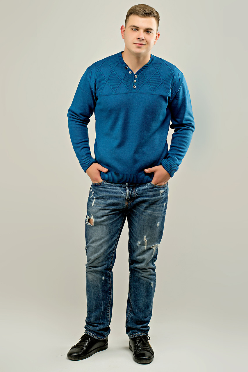 Мужской свитер с декоративными пуговицами Себостьян, цвет голубой / размерный ряд 50,52