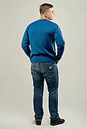 Мужской свитер с декоративными пуговицами Себостьян, цвет голубой / размерный ряд 50,52, фото 3
