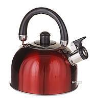 Чайник из нержавейки для газовой плиты 2,5 л Красный (1329)