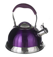 Чайник металлический из нержавеющей стали со свистком 3,2 л. (1383)
