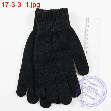 Оптом трикотажные подростковые перчатки с начесом - №17-3-3, фото 2