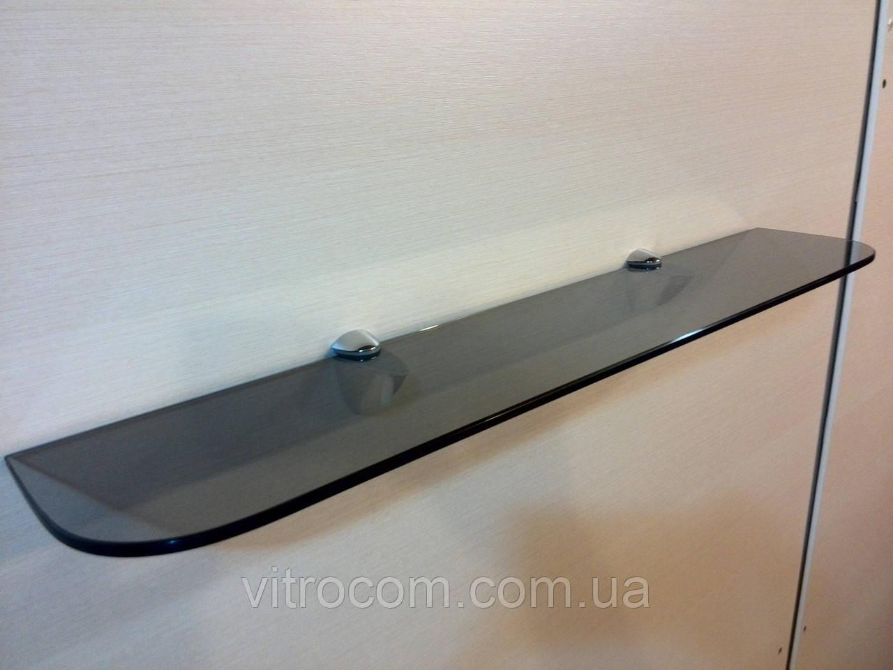 Полка стеклянная прямая 6 мм графит 60 х 12 см