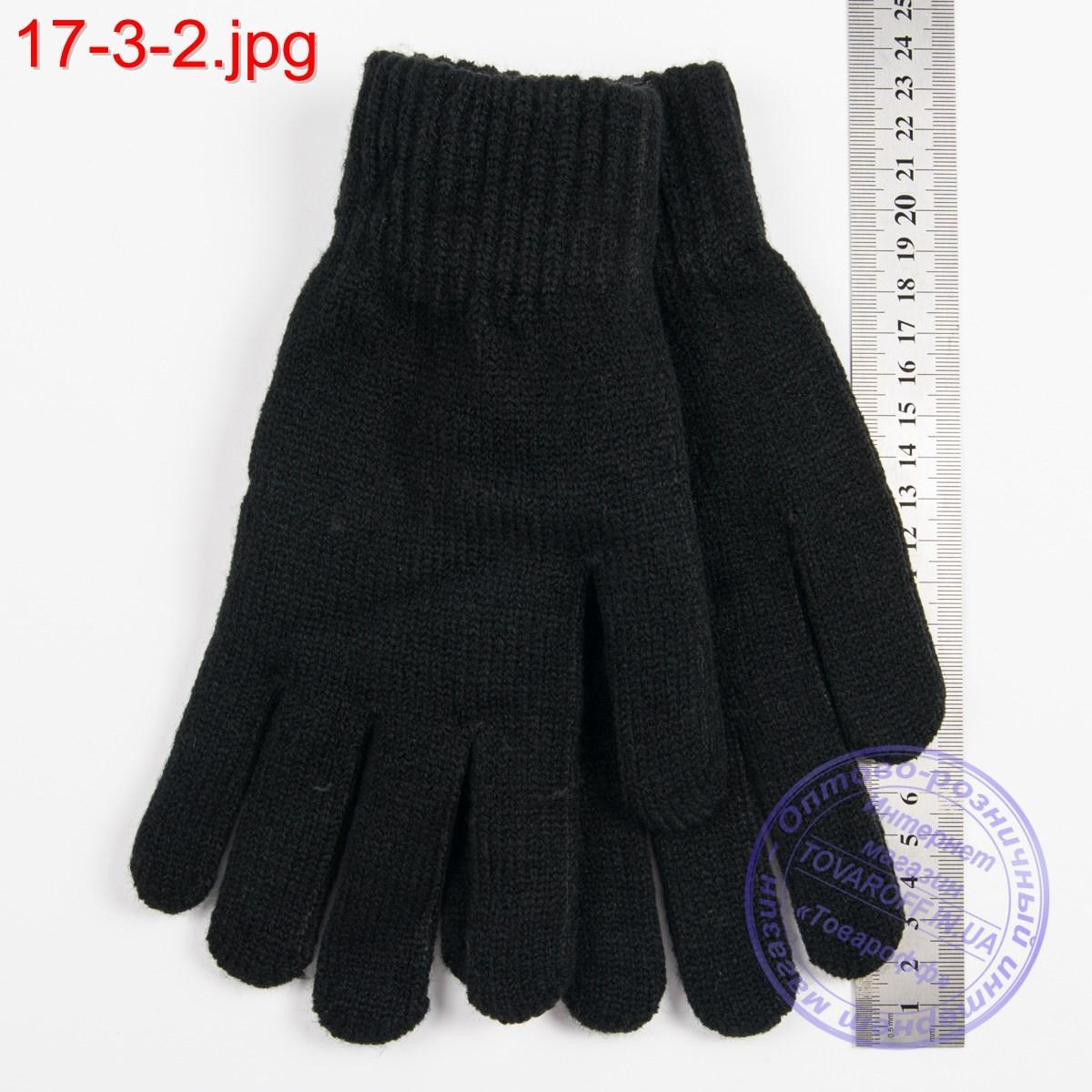 Оптом вязаные женские перчатки с начесом - №17-3-2