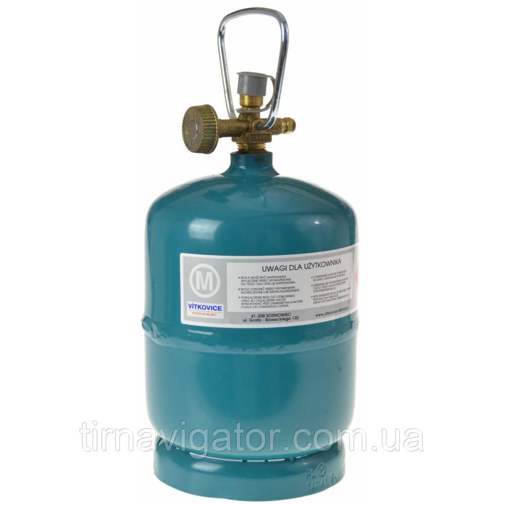 Баллон газовый туристический 2.4л. 1.0кг Vitkovice (G3/8LH 1.8кг)