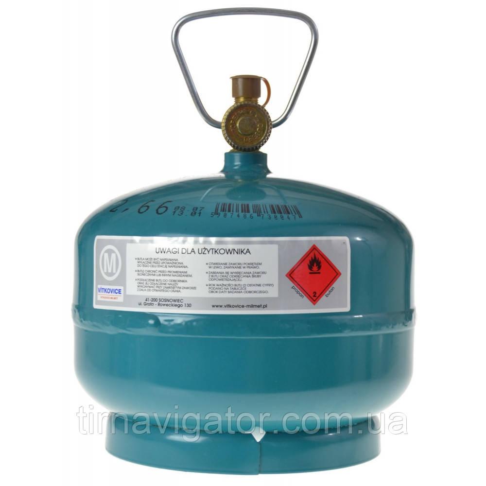 Баллон газовый туристический 4.8л. 2.0кг Vitkovice (G3/8LH 2.6кг)