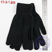 Оптом вязаные мужские перчатки с начесом - №17-3-1