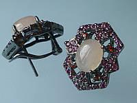 Серебряные серьги с розовым кварцем рубином и гранатом в черном родии
