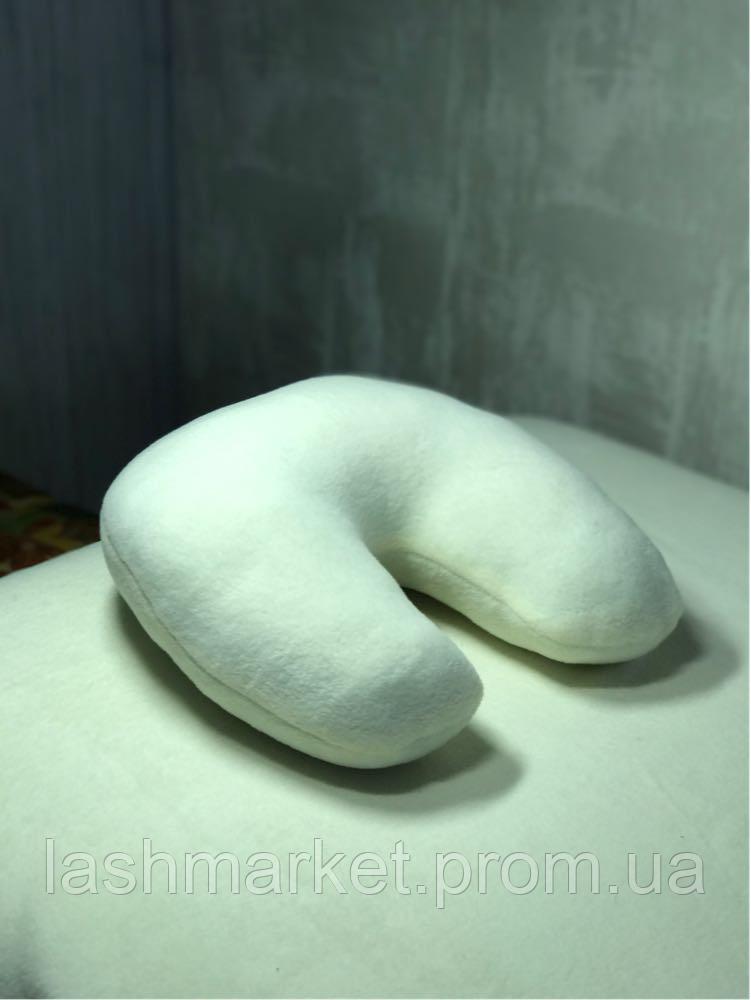 Подушка под голову клиента(подковка) флис молочный цвет