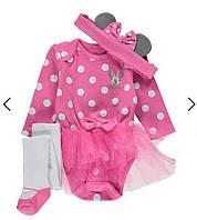 """Бодики девочке,боди младенцам в комплекте с колготками и ободком """"Минни Маус"""",детская одежда"""