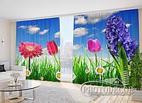 """Фото Шторы """"Садовые цветы"""" 2,7м*2,9м (2 половинки по 1,45м), тесьма"""