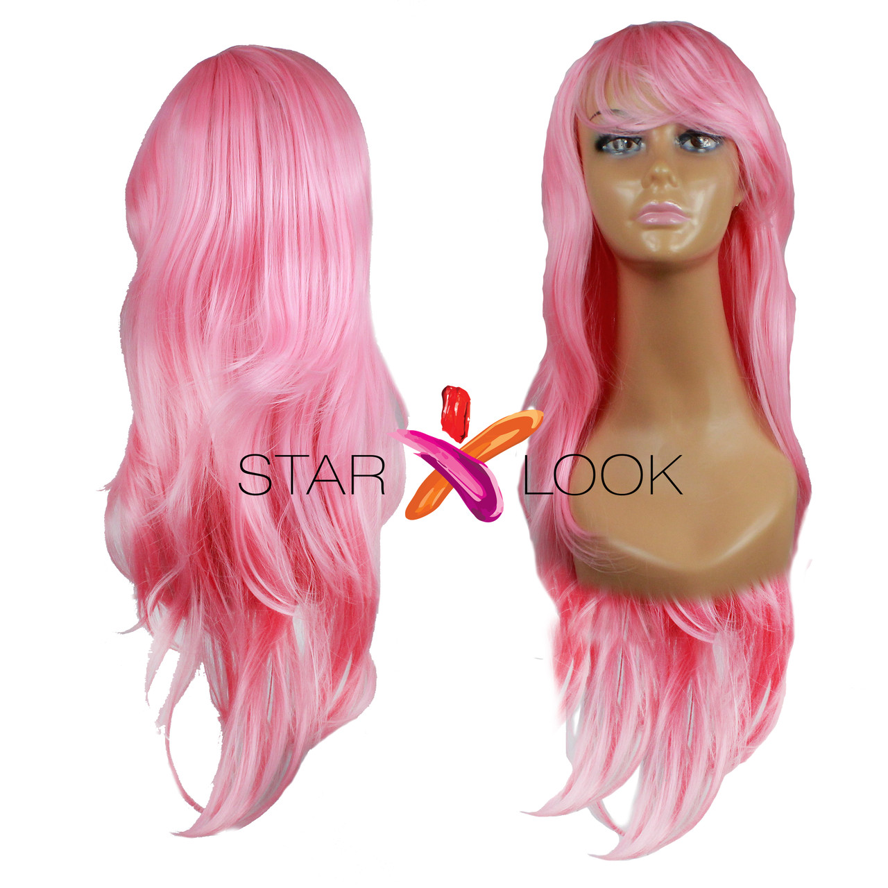 Парик с длинными розовыми искусственными волосами