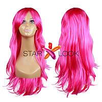 Парик с длинными искусственными волосами ярко-розовый