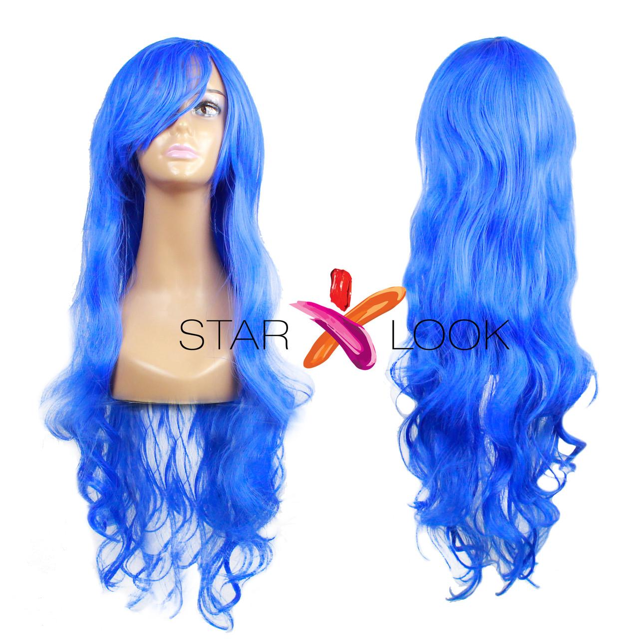 Волнистый синий парик с челкой