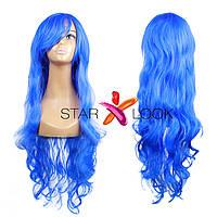 Волнистый синий парик с челкой, фото 1
