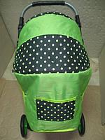 301 Кукольная коляска-трансформер 2в1 с переноской Adbor Mini Ring (салатовый, горошек на черном)