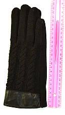 Женские трикотажные  перчатки с вязаным верхом и сенсорными пальчиками на флисовой подкладке, фото 3