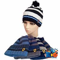 Детская вязаная шапка, для мальчика р-р 52