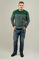 Мужской свитер на осень в ромбообразный рисунок Никита, цвет зеленый / размерный ряд 48,50,52
